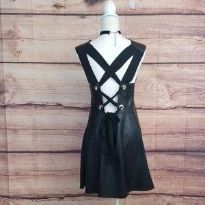 Zara faux leather lace up dress